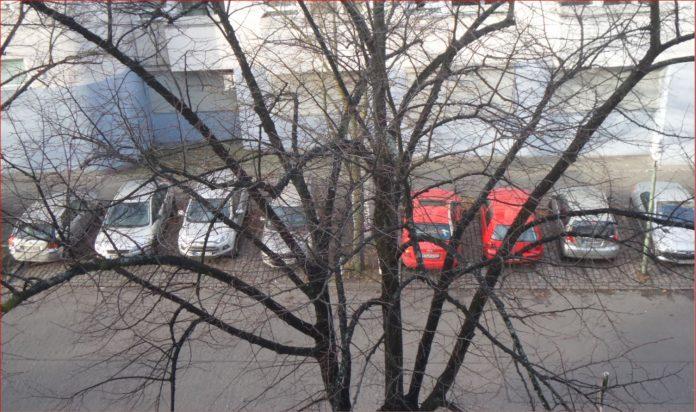 In einer Straße in Berlin parken Autos nach Farben sortiert.