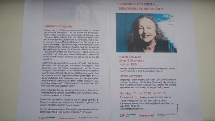 Anküdigung Schygulla-Lseung im filmkunst 66, Berlin-Charlottenburg