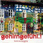 """Das bunte Haus und Bild zum Buch """"Gehirngefühl.! - Kunst aus Gugging von 1970 bis zur Gegenwart"""" von Nina Ansperger und Johann Feilacher."""