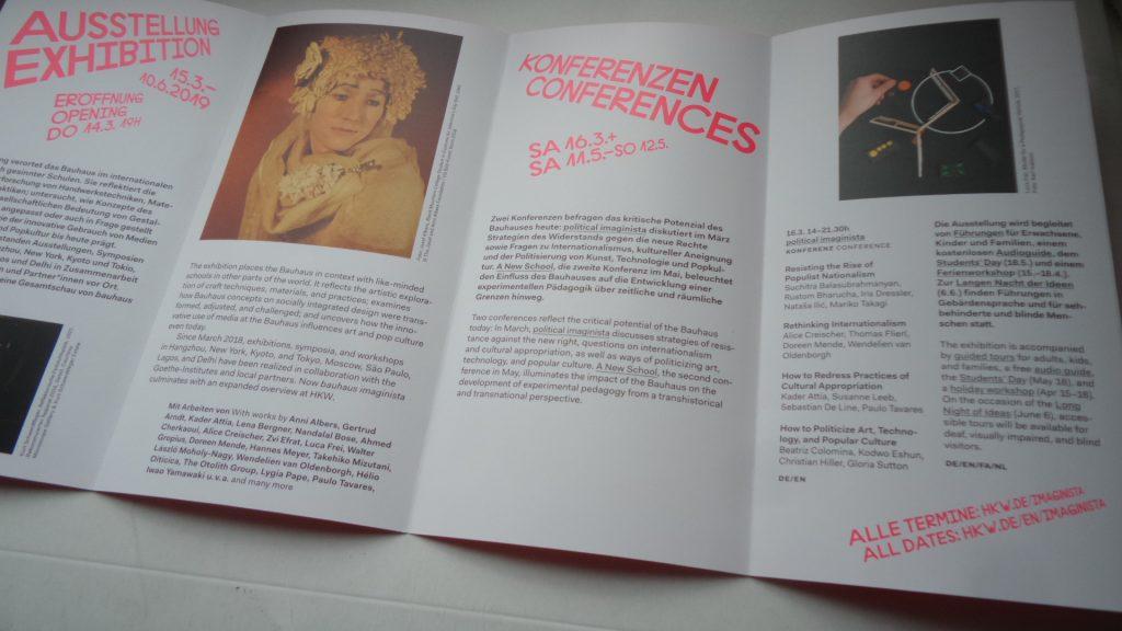 Flyer zur Ausstellung Bauhaus Imaginista im HdKdW Berlin