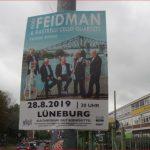 Plakat des Giora Feidman & Rastrelli Cello Quartetts in Lüneburg im August 2019.